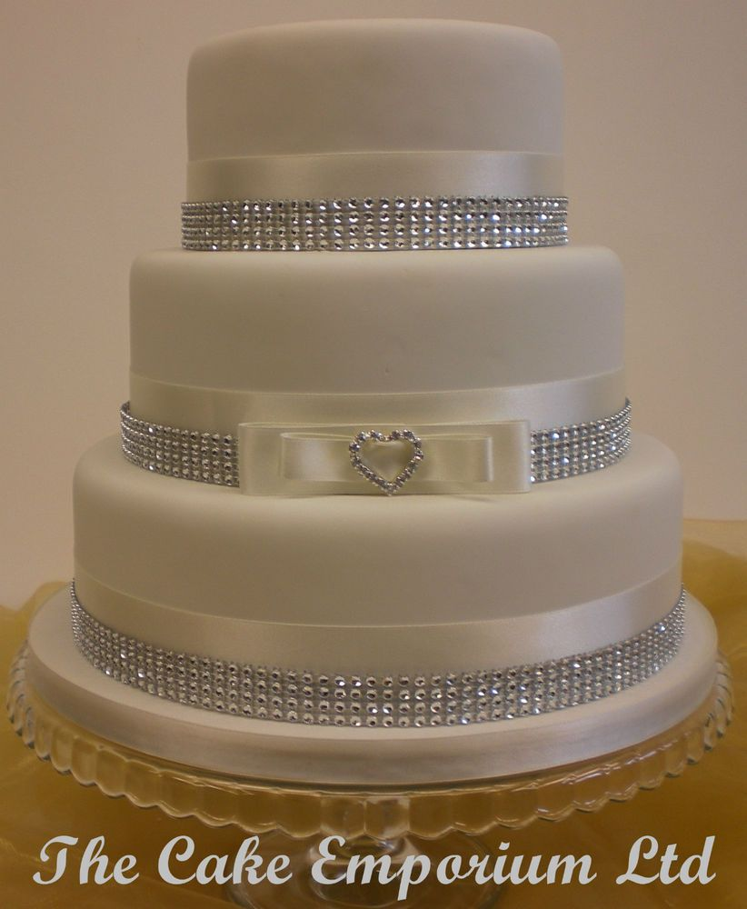 Wedding Cake Love Heart Rhinestone Buckle Satin Diamante