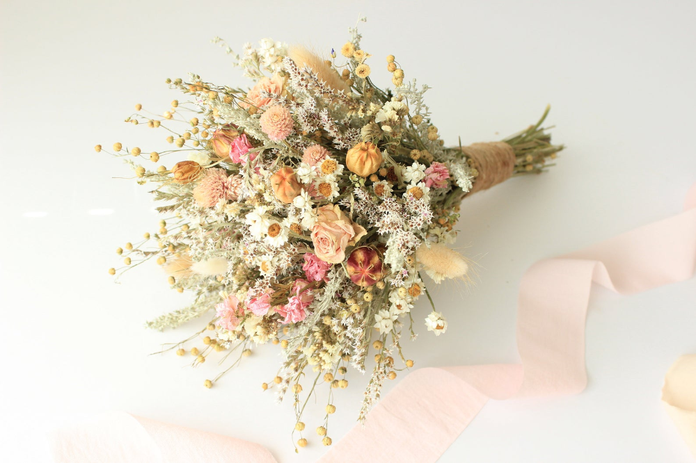 Pink Dream Peach Dried Flowers Bouquet Preserved Daisy Rose