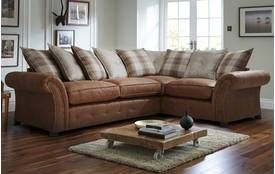 Good Woodland Left Hand Facing 3 Seater Pillow Back Corner Deluxe Sofa Bed  Oakland