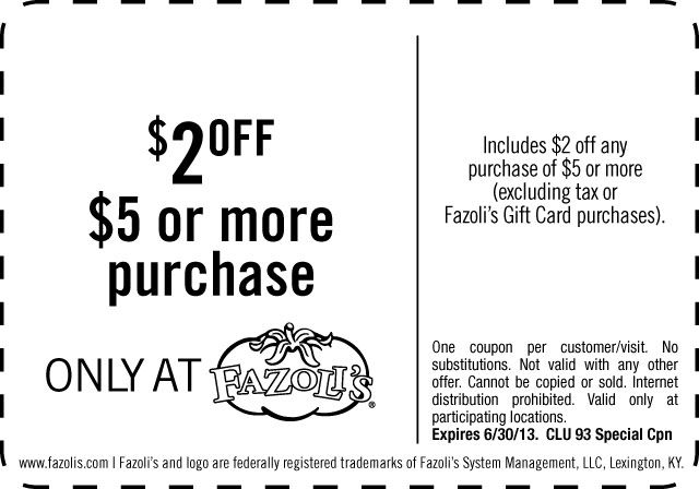 graphic relating to Fazoli's Printable Coupons identify Pinned June 28th: Shave $2 off $5 at Fazolis dining places