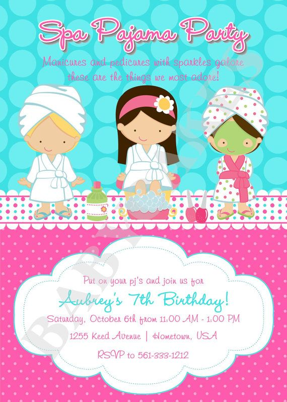 Spa Pajama Party Birthday Invitation Invite Sleepover Party