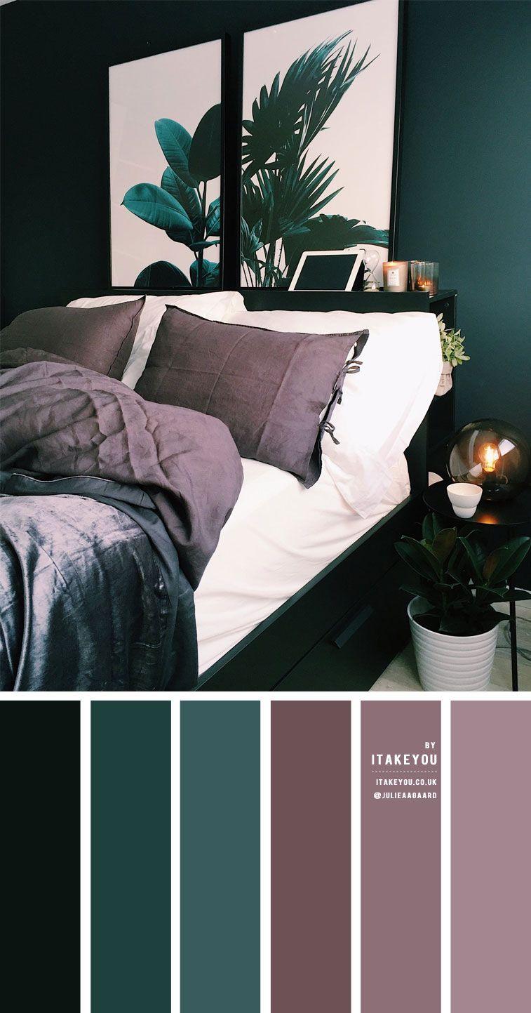 Dark Green and Dark Mauve Bedroom