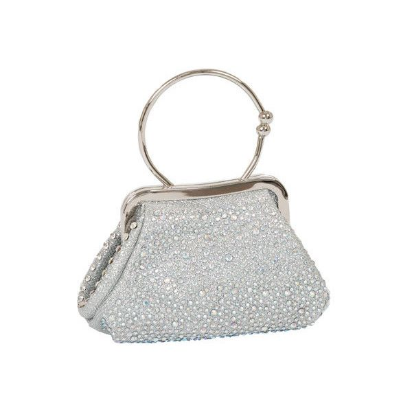 Women's J. Furmani 81216 Studded Handheld Clutch - Silver Evening ($59) ❤ liked on Polyvore