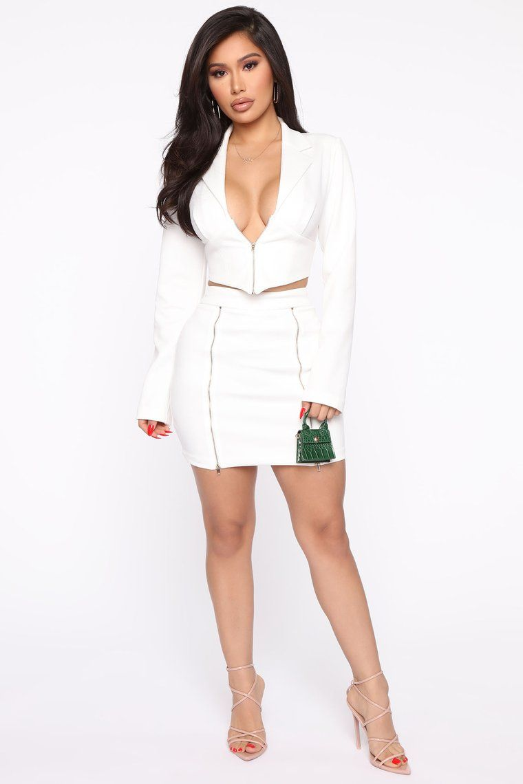 Party Boss Blazer Set Ivory In 2020 Fashion Skirt And Top Set Sweater Set