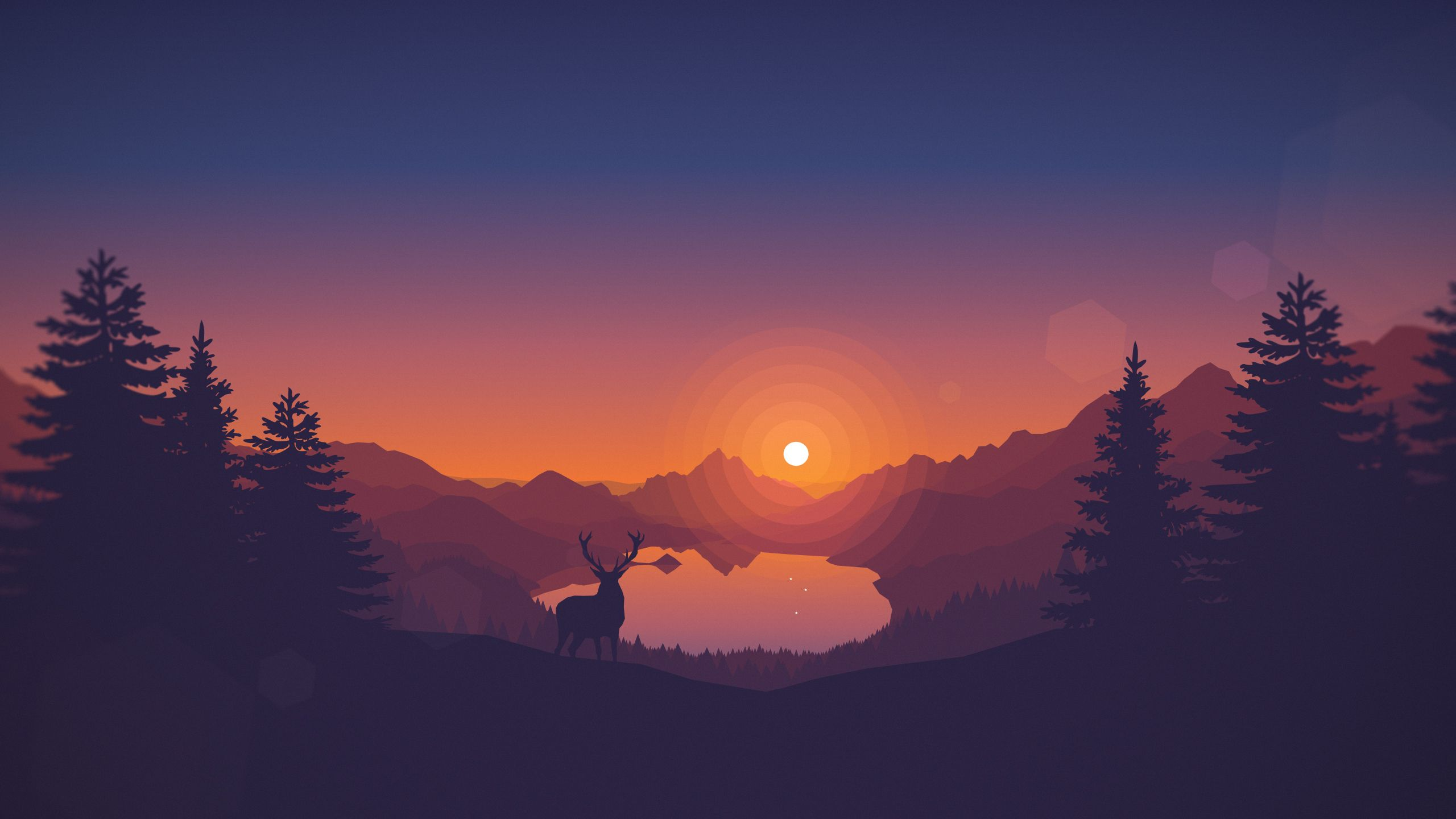 Lakeside Sunset 2560x1440 Jpg By Louis Coyle Sunset Wallpaper Deer Wallpaper 4k Desktop Wallpapers
