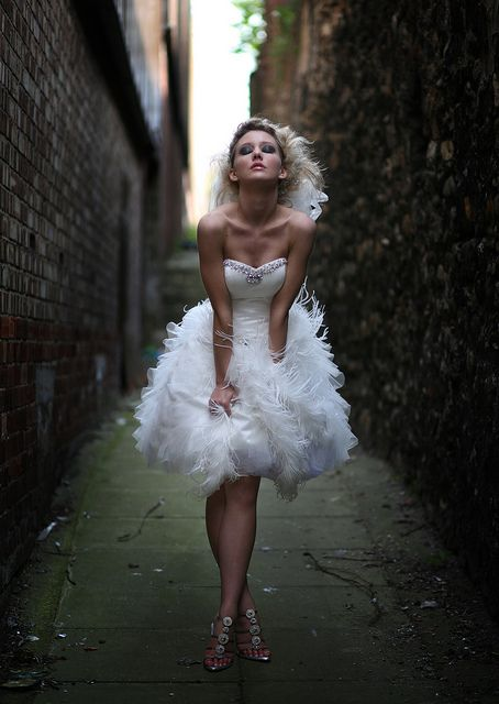 Short Satin And Ostrich Feather Wedding Dress Wedding Dress With