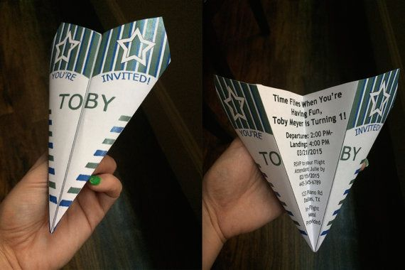 Custom Paper Airplane Invitation - Personalize Verbiage, Colors & More! Birthdays, Weddings, Announcements, Save the Dates, Graduations
