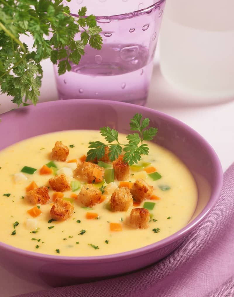 Photo of Creamy potato soup with bacon and croutons – French recipe