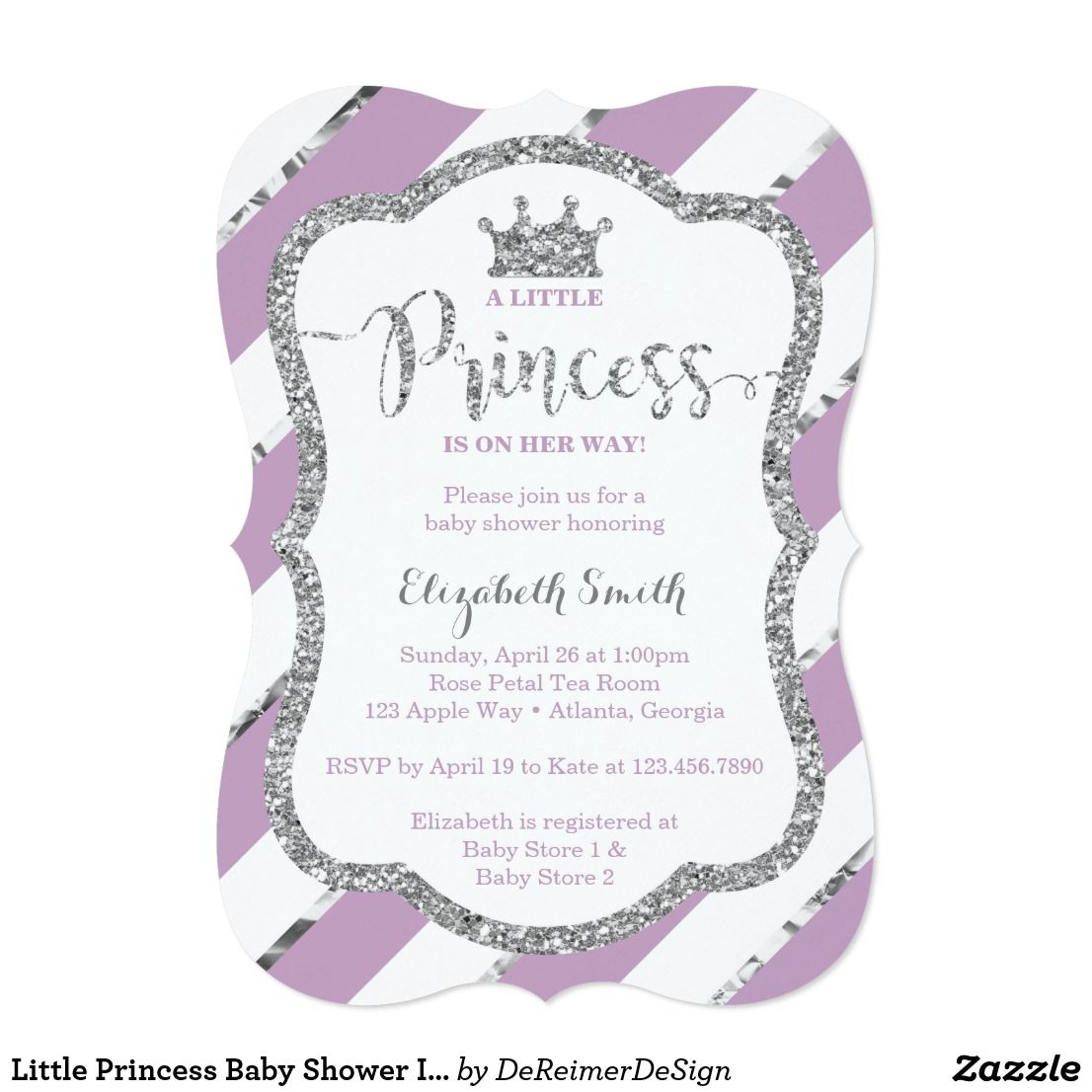Little Princess Baby Shower Invite, Faux Glitter Card Invite ...