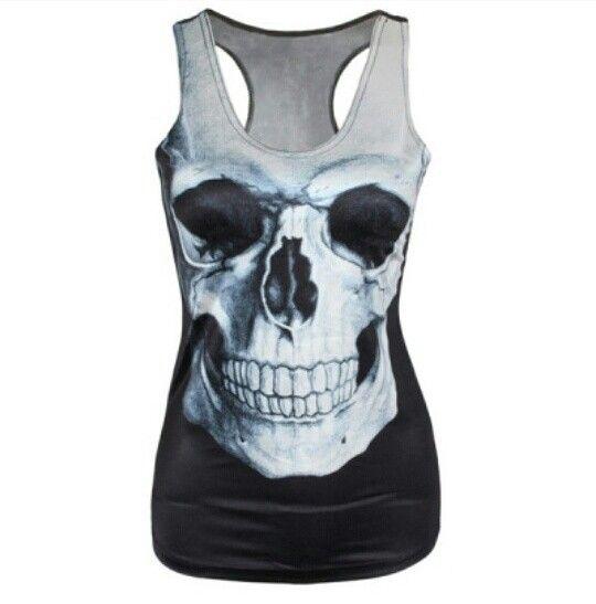 Women's punk skull tank top (silk blend) Size: small  $25