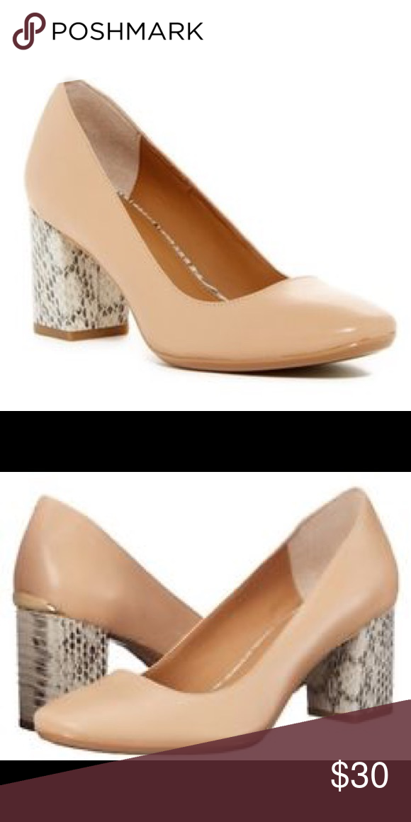 717a94ccabc Calvin Klein Cirilla Nude Pump Snake Block Heel Gorgeous stylish nude Pump  with Snake Black Heel accent. Goes with everything! Great condition