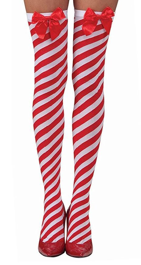 158ab244e0c Adult CANDY CANE RED WHITE STRIPED THIGH HIGH Stockings Socks Elf Christmas  Bow  Forum