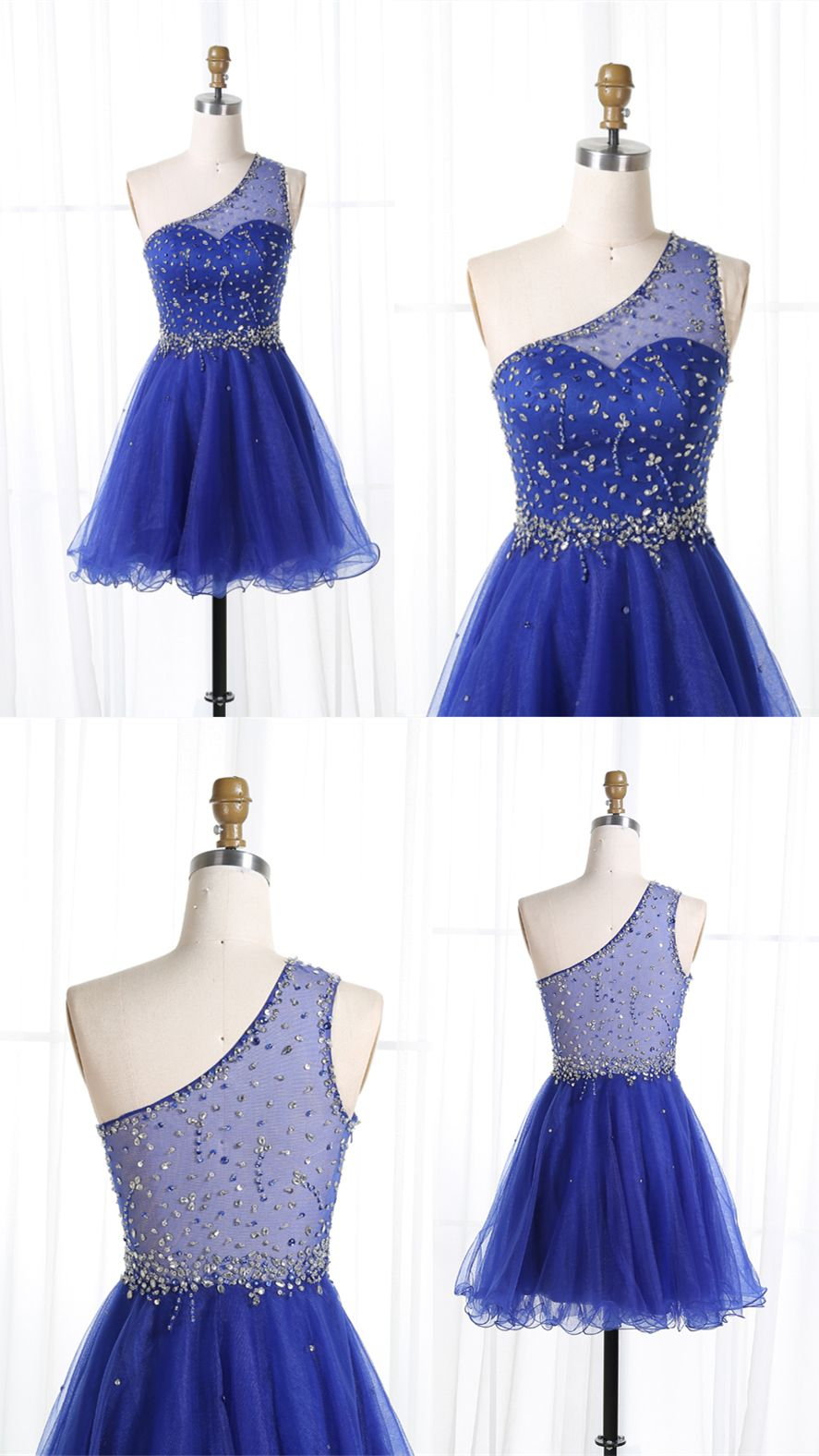 Aline one shoulder royal blue tulle short homecoming dress with