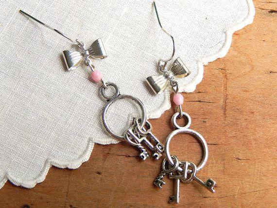 Key earrings / skeleton key earrings / key by FleetwoodandCo