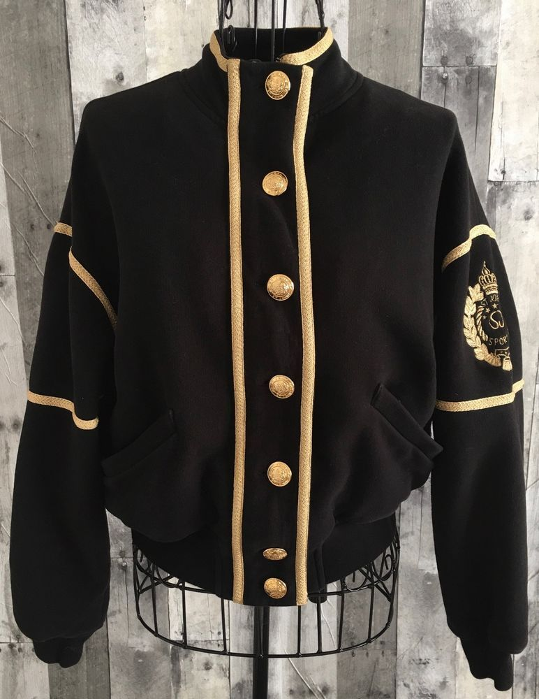 356b7f9e6ae651 VTG St. John Marie Gray Cardigan Sweatshirt Jacket Black Metallic Gold  Petite  StJohn  Jacket