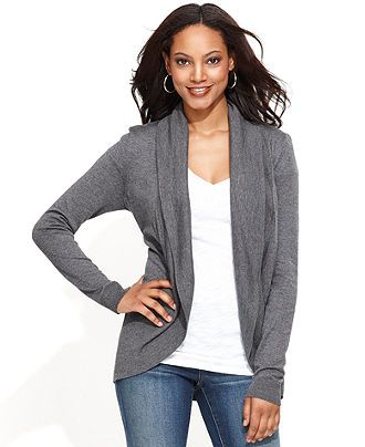 INC International Concepts Cardigan, Long-Sleeve Open-Front Shawl ...