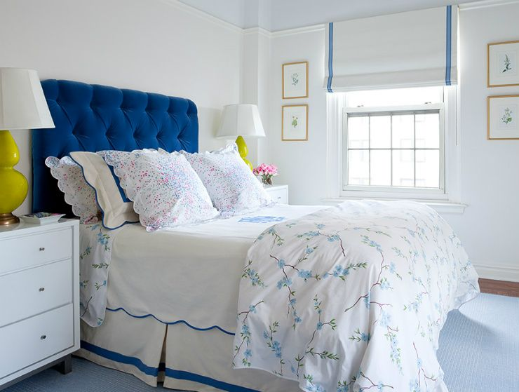 Navy Blue Tufted Headboard White And Blue Linens With