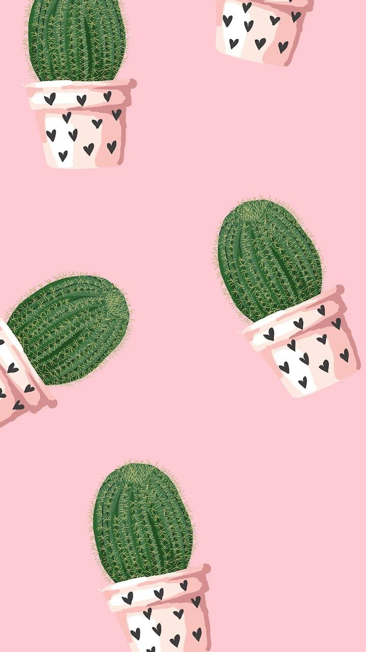 Cacti and hearts Wallpaper de iphone rosa