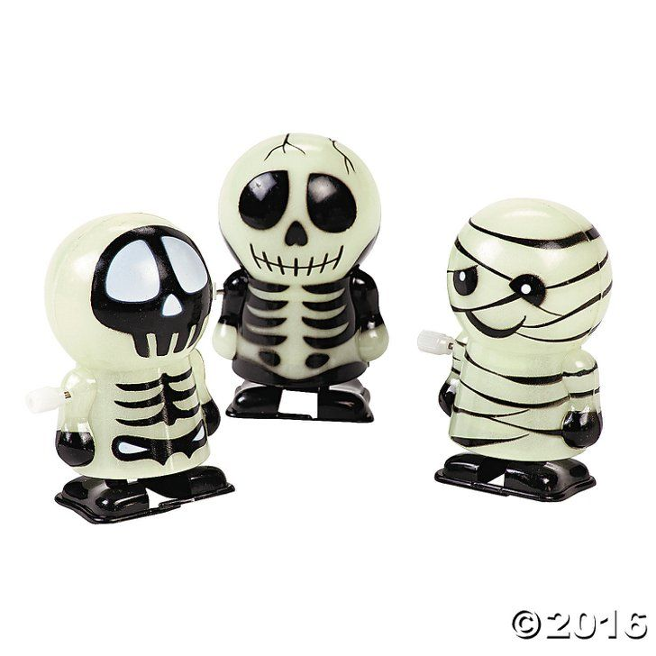 The 67 Best Noncandy Halloween Ideas to Give Trick-or-Treaters Glow-in-the-Dark Skeleton and Mummy Wind-Ups Glow-in-the-Dark Skeleton and Mummy Wind-Ups ($13 per 12)