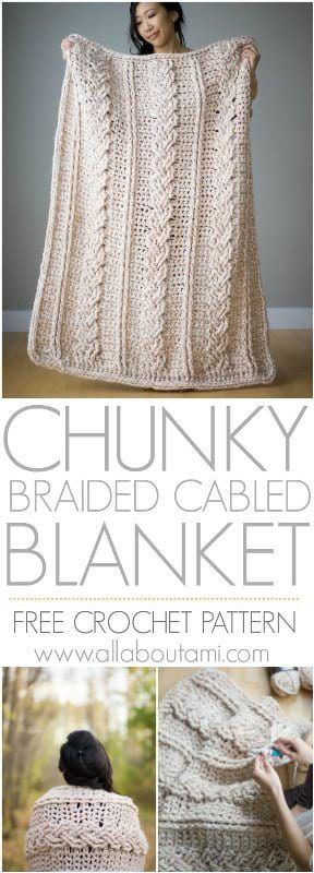 Chunky Braided Cabled Blanket #crochetpatterns
