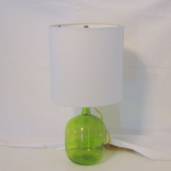 Lamp And Lampshade Green Glass Lamp Made Out A Vintage Vase And 10 X10 Lampshade In Off White Color Glass Lamp Lamp Vintage Vases