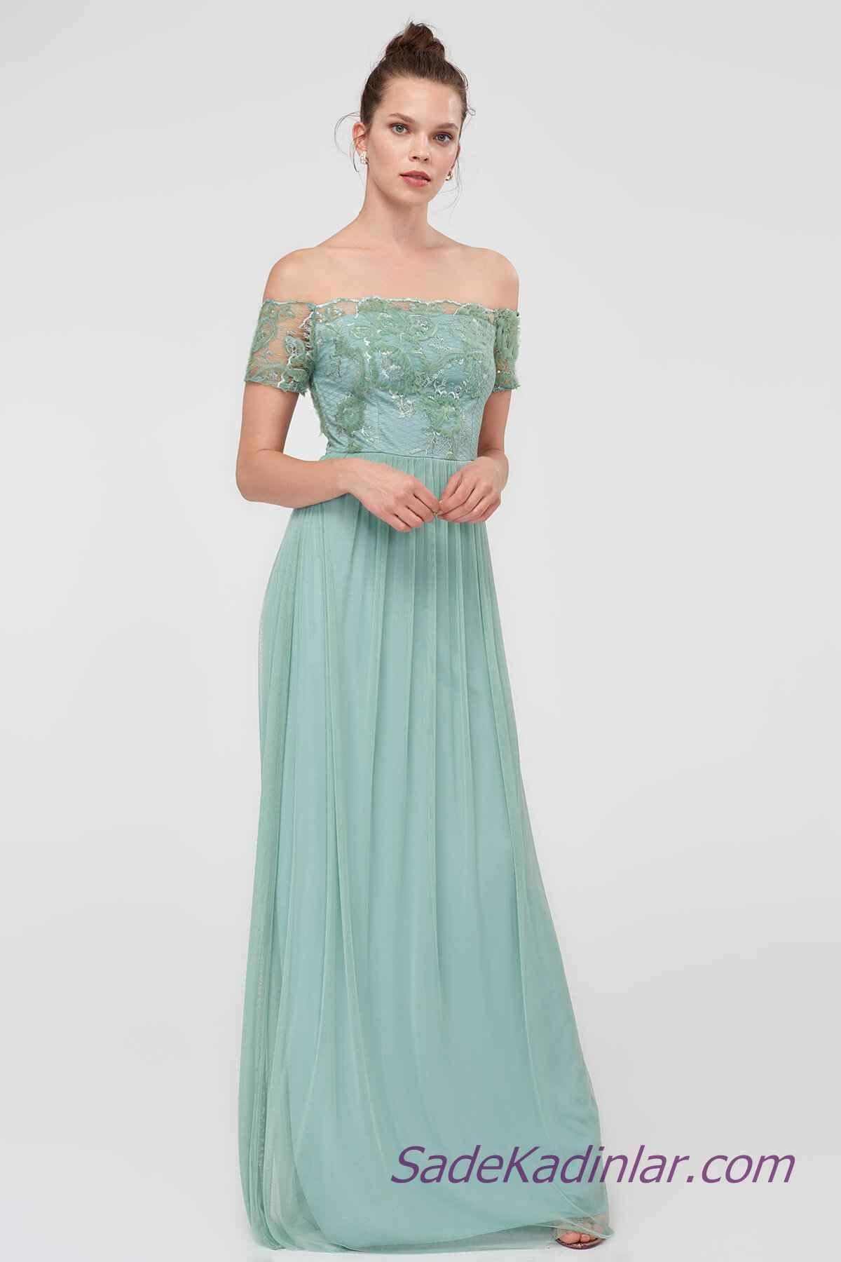 e7612eb10c9 2019 Abiye Elbise Modelleri Yeşil Uzun Omuzlar Açık Düşük Kol Dantelli