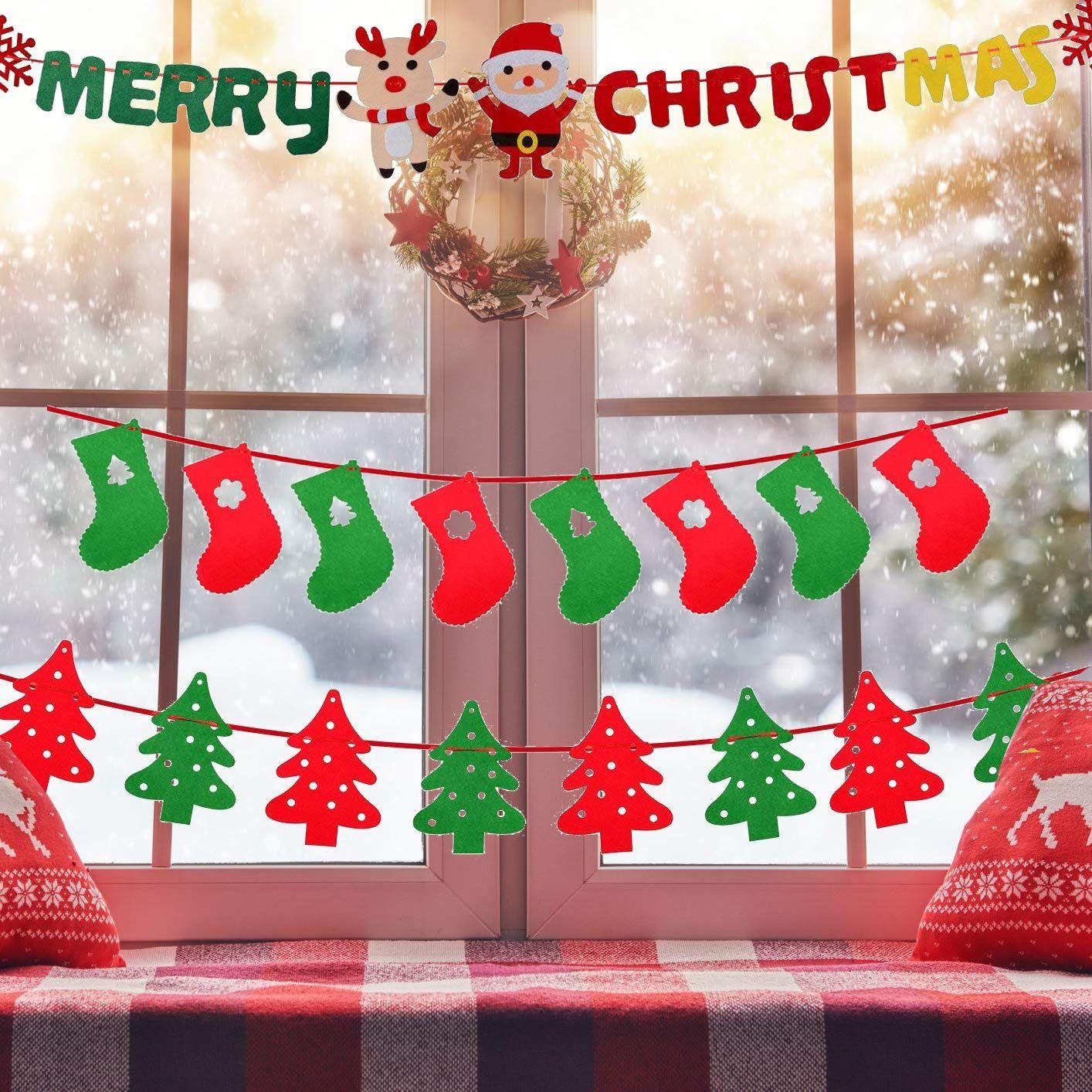Christmas Flag Banners Home Decor Bunting Garlands Sign Christmas