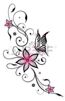Fleurs Rose Et Noir Avec Papillon Heure D T Photo Fleur Noir Idees De Tatouages Tatouage Arabesque