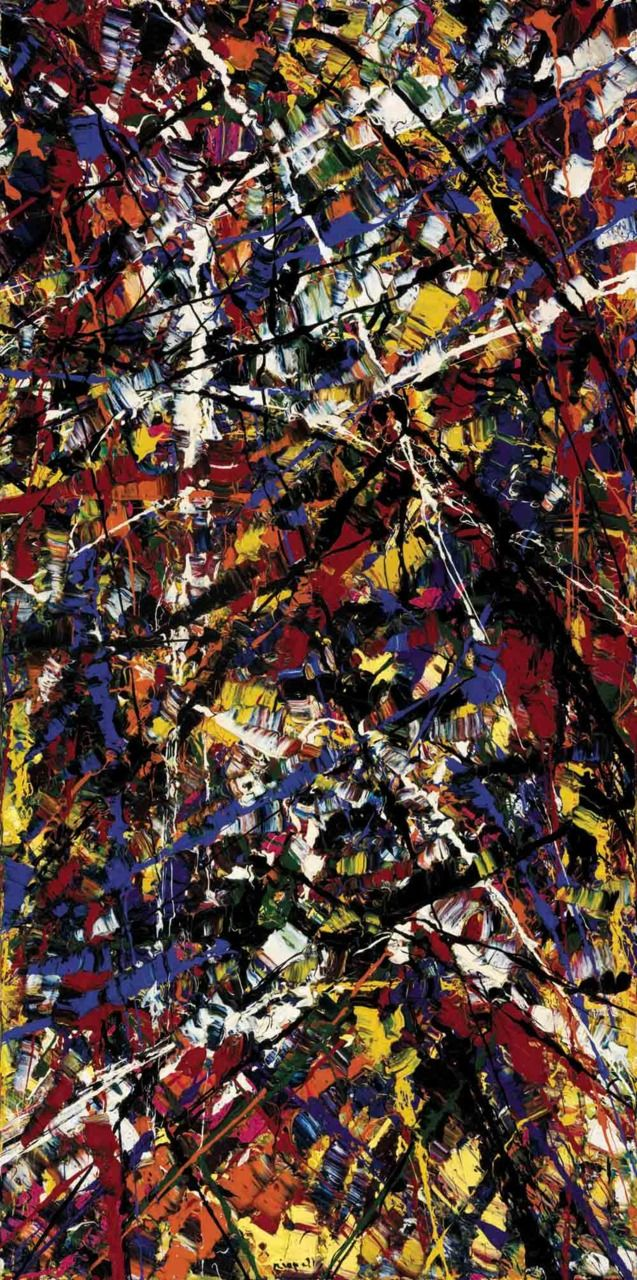 Grande Fête, 1952. Jean-Paul Riopelle (1902-2003) 2002) was a Canadian painter  sculptor who attained international recognition. The presence of long filaments of paint in his painting from 1948 - 1950s has often been seen as resulting from a dripping technique like  Pollock. Rather, the effects came from throwing, with a palette knife or brush, large quantities of paint onto the stretched canvas. His voluminous impasto became just as important as color.
