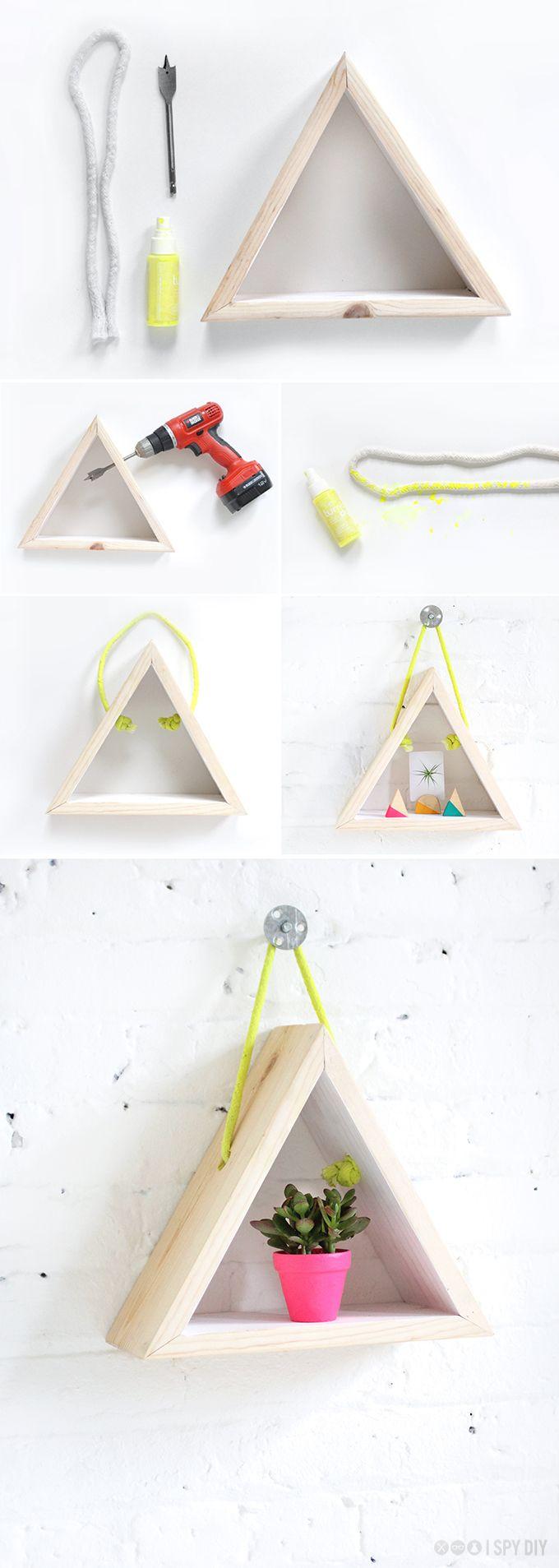 my diy hanging triangle shelf i spy diy decor hacks. Black Bedroom Furniture Sets. Home Design Ideas