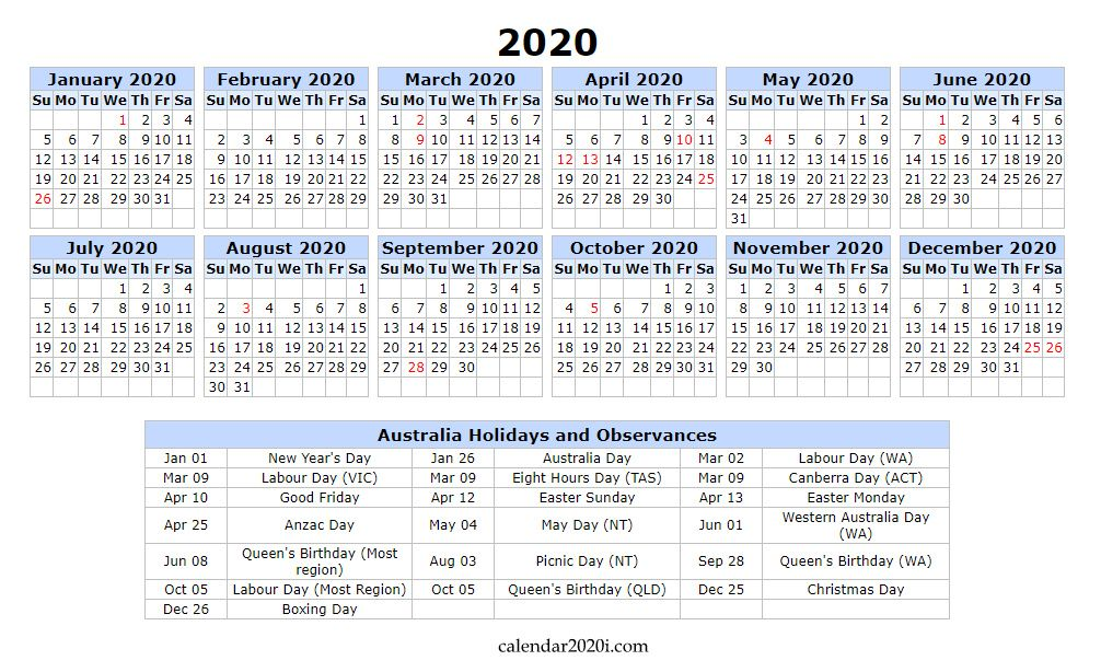Australia 2020 Calendar Printable Word Excel Holidays Pdf