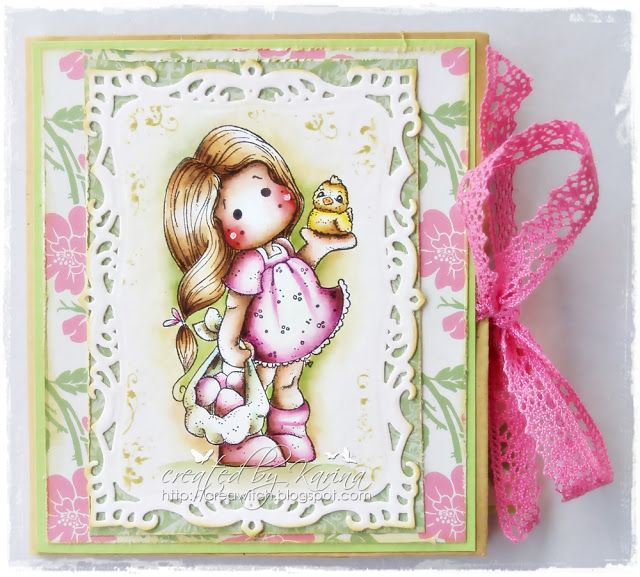 Tilda with Easter eggs and chick, Easter collection 2013, Magnolia stamps.  Colored with distress inks