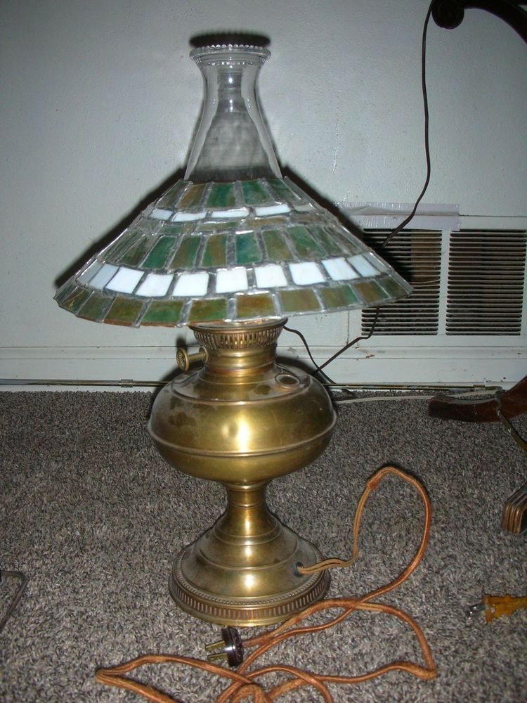 Antique Brass Oil Lamp With Tiffinay Style Stained Glass Shade Electrified 1800s Lodge Eagle Lamp Oil Lamps Glass Shades