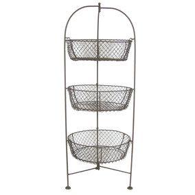 Brown 3-Tier Wire Basket