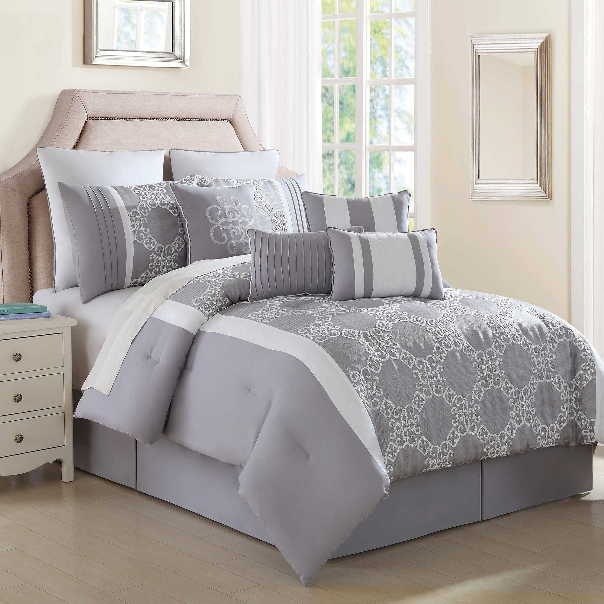 Lemiuex 10Piece Comforter Set in Grey/White Comforter