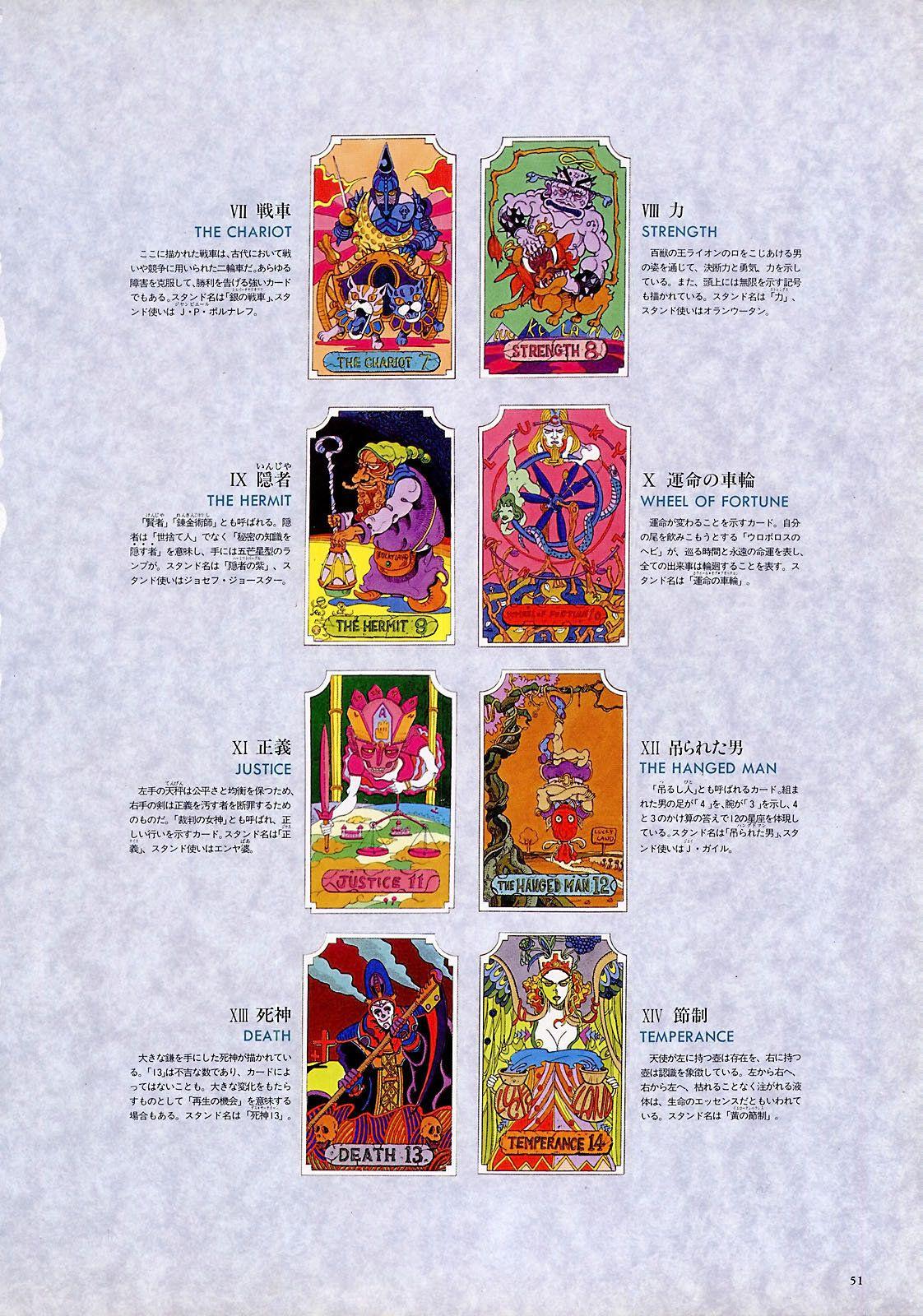 Jojo 6251 tarot cards major arcana jojo jojos bizarre