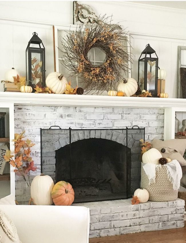 Gorgeous Neutral Fall Decor Ideas #fallmantledecor