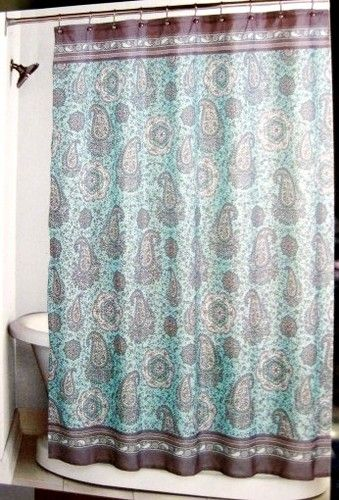 Fabric Peri Mosaic Paisley Pastel Aqua Brown Shower Curtain