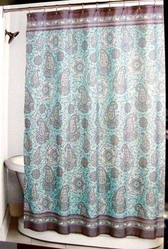 FABRIC - Peri - Mosaic Paisley Pastel Aqua & Brown SHOWER CURTAIN ...