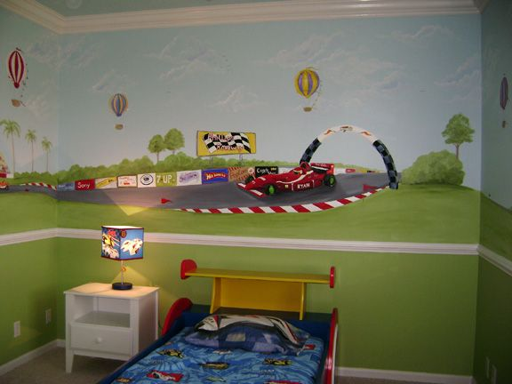 Race Car Children S Murals Raceway Grand Prix Mural Children S Murals In Palm Beach County S Children Bedroom Murals Childrens Murals Childrens Wall Murals
