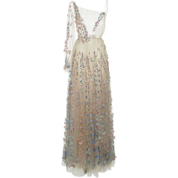 Embroidered Floral And Pearl-Embellished Silk-Tulle Gown Luisa Beccaria LeBHg0