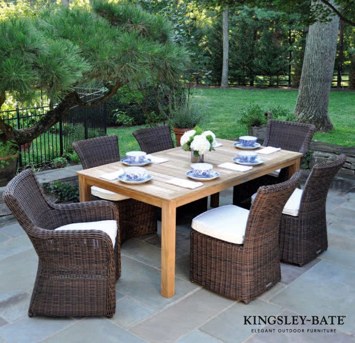 brown wicker patio dining chairs | Kingsley Bate Comedor Sag Harbour ...