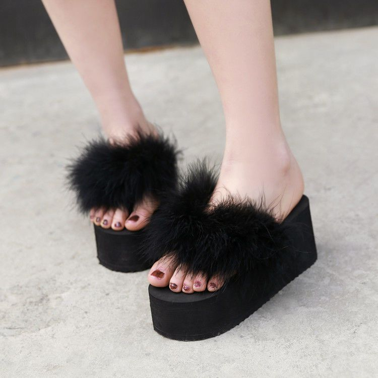 Women Slippers Furry Fur Flipflop Sandal Wedage Heel Platform Summer Casual Shoe