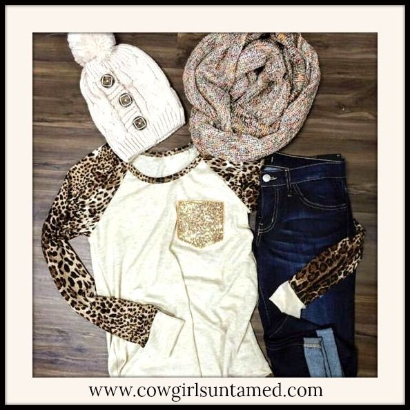 695124f7e4e044 COWGIRL GLAM TOP Sequin Pocket Leopard Sleeve Top  leopard  animal  print   top  shirt  sequin  cowgirl  western  clothing  womens  ladies  fashion   style ...