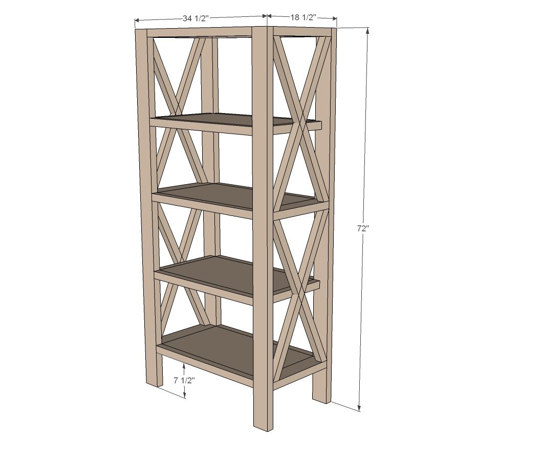 Ana White | Build a Rustic X Tall Bookshelf | Free and ...