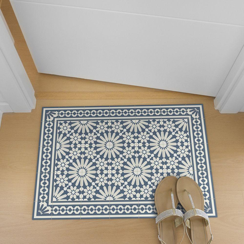 Vinyl Floor Mat With Moroccan Tiles Design In Blue And Beige