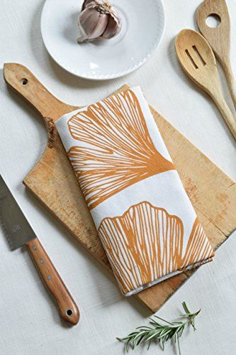 Ginko Leaf Flour Sack Tea Towel in Golden Yellow