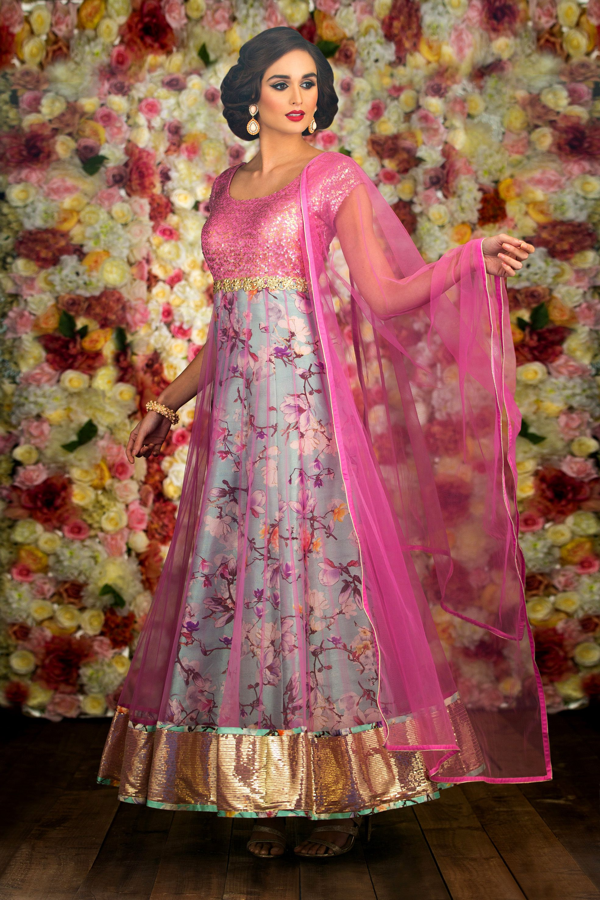 Image result for floral print anarkali gowns | gowns fantasio ...