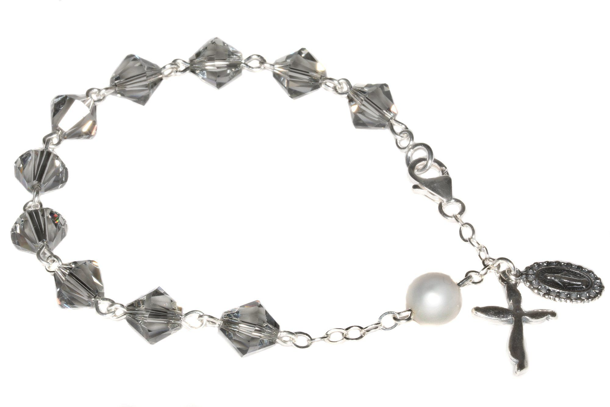Sterling silver womens rosary bracelet made with black diamond