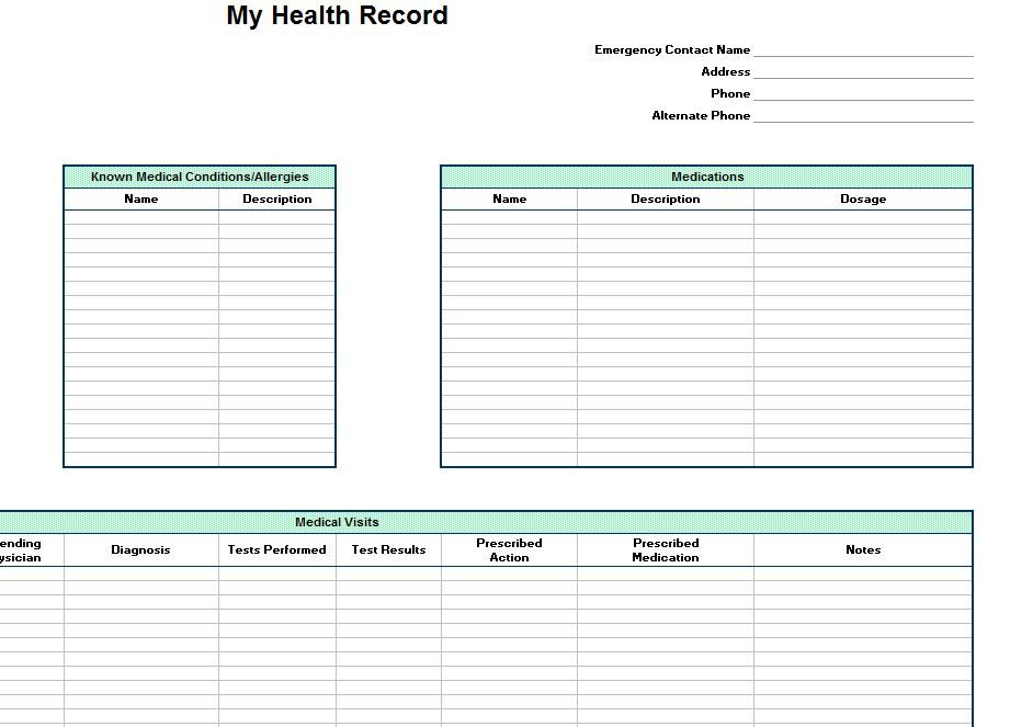 Personal Health Record Template Personal Health Record Medical History Personal Health Medical